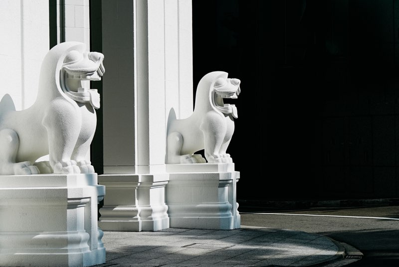 Rodolfo Nolli's Art Deco lion sculptures at the Singapore Bank of China Building