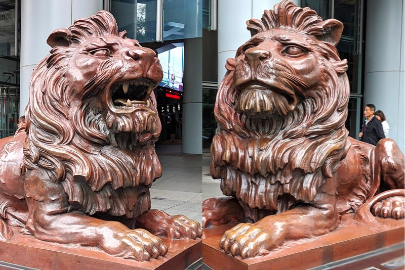 W.W. Wagstaff's Stephen and Stitt bronze lions guard the HSBC Building
